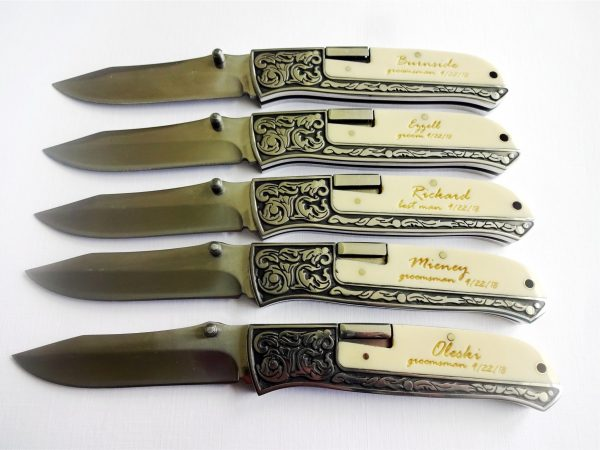 5 SET White Personalized Pocket Knives