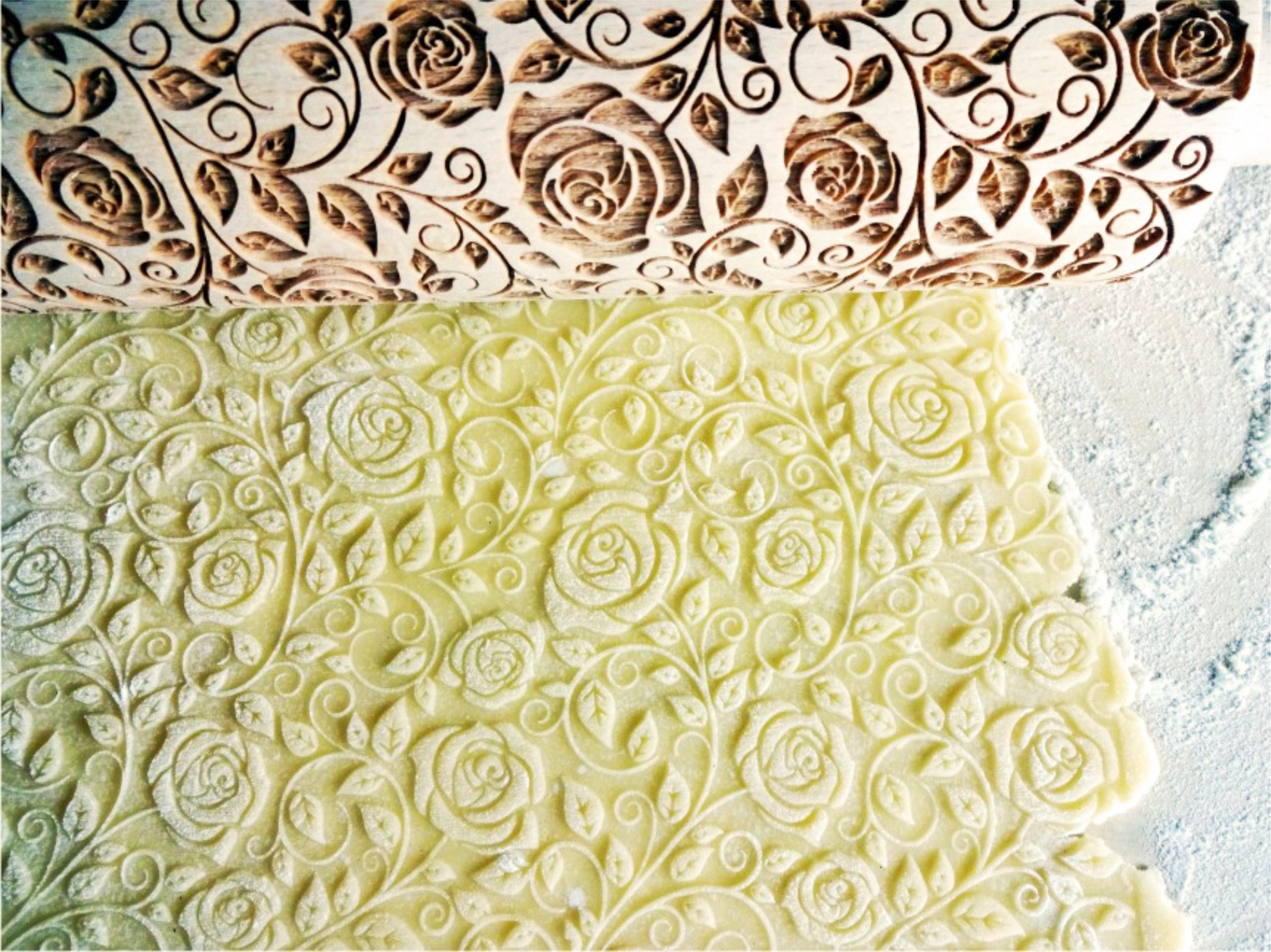 Damascus Roses Embossing Rolling Pin