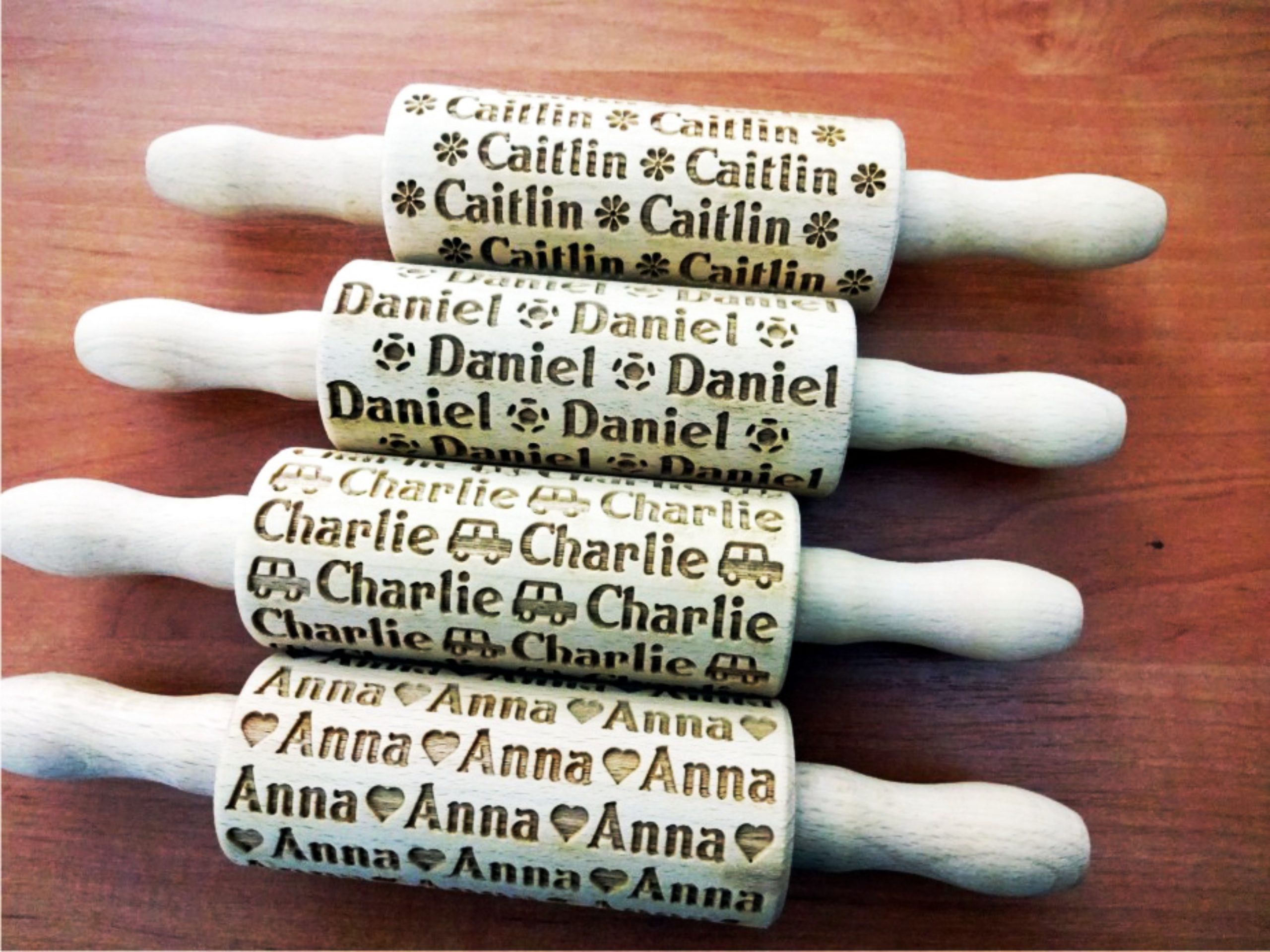 4SET Personalized KIDS mini Rolling Pin with NAMES
