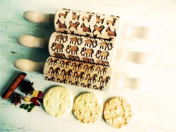 ANIMALS 3 Kids mini Rolling Pin SET