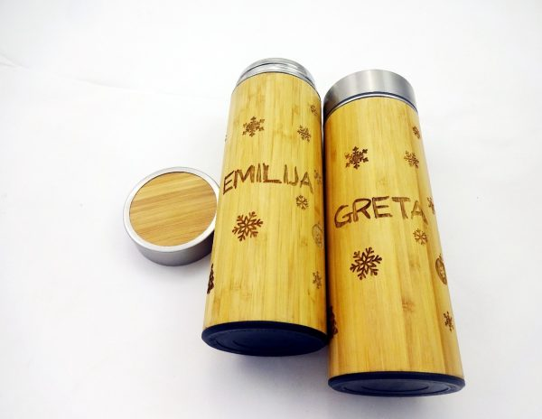Personalized Bamboo Wood Thermos BPA free