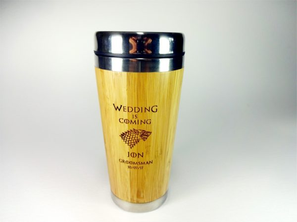 Personalized Bamboo Wood Travel Mug with Lid BPA free