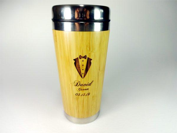 Personalized Bamboo Wood Travel Mug with Lid BPA free