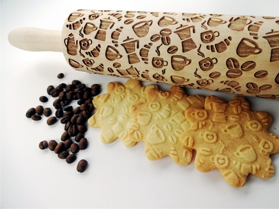Coffee style Embossing Rolling Pin