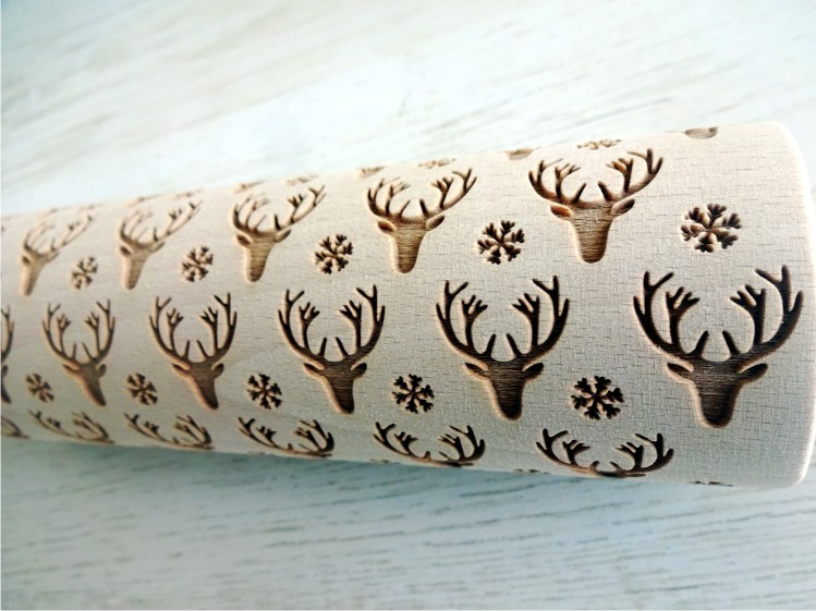 WHITE ELK embossing rolling pin