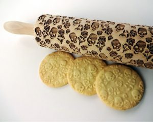 SUGAR SKULL and ROSES Embossing Rolling Pin