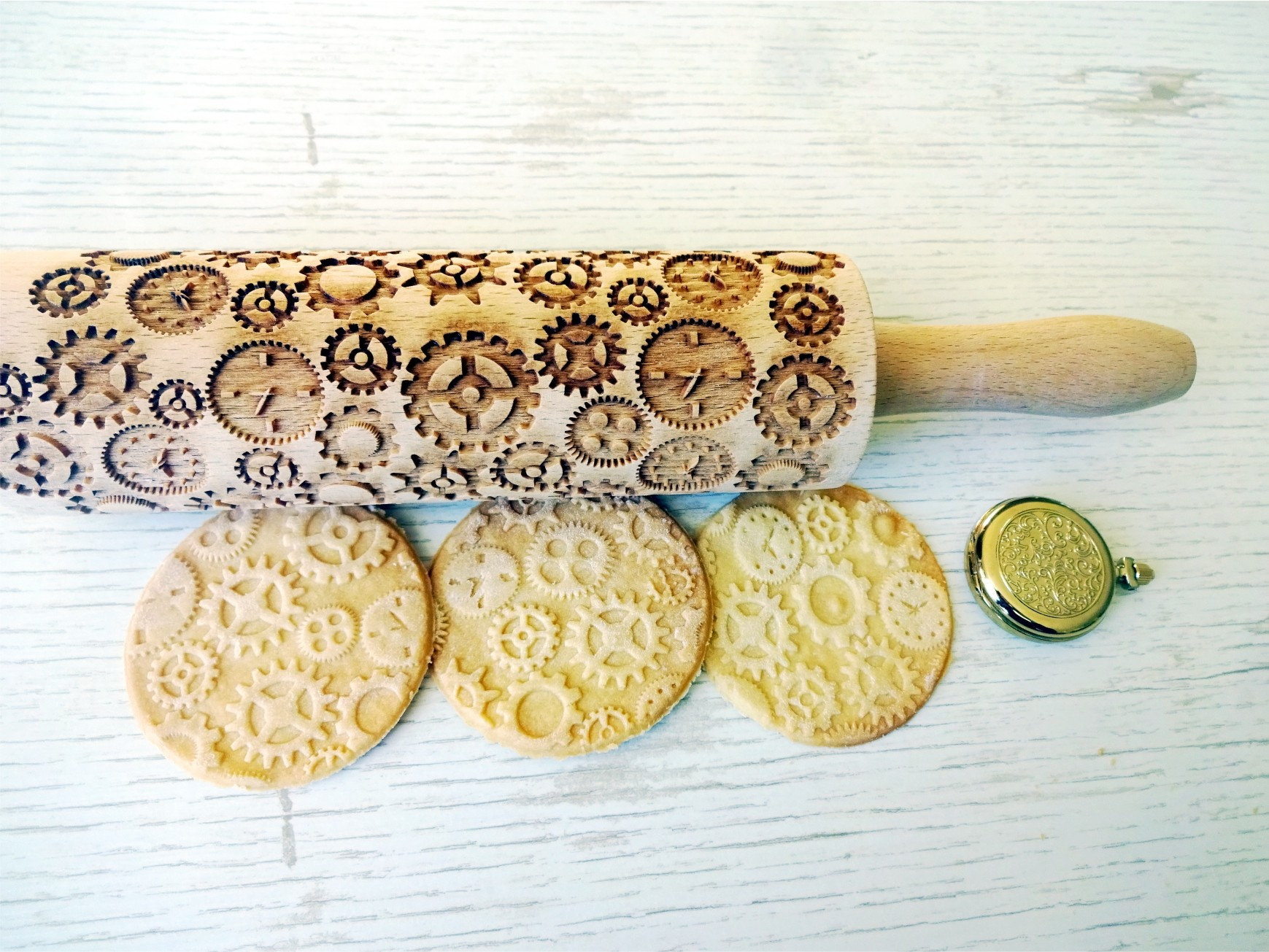 CLOCKS and GEARS Embossing Rolling Pin
