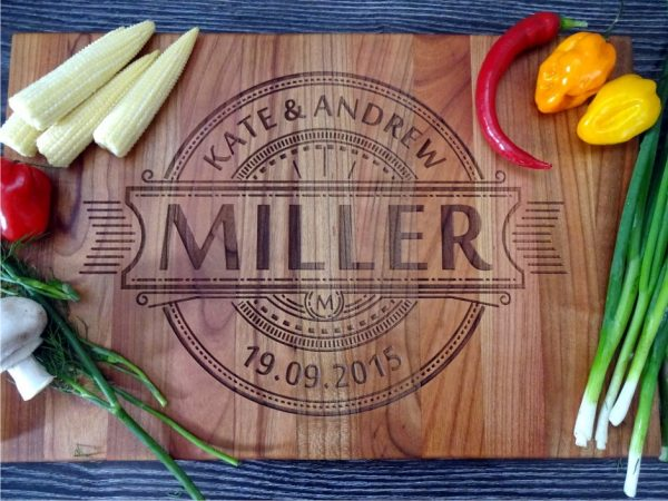 Personalized cutting board for couple