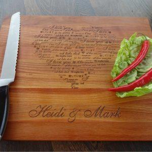 "Personalized cutting board ""I love you"""