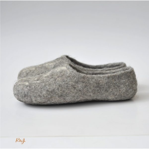 Handmade eco friendly felted slippers from natural wool - grey