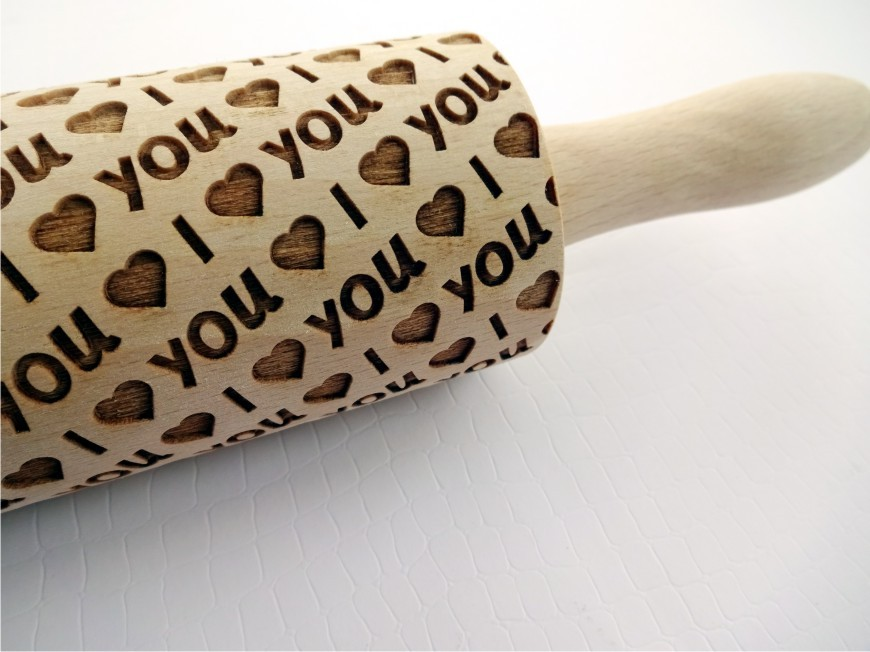 I LOVE YOU Embossing Rolling Pin